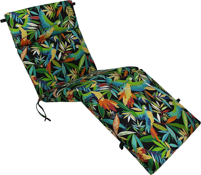 Blazing Needles Outdoor Chaise Lounge Cushion, 72 , Tucuman Ebony