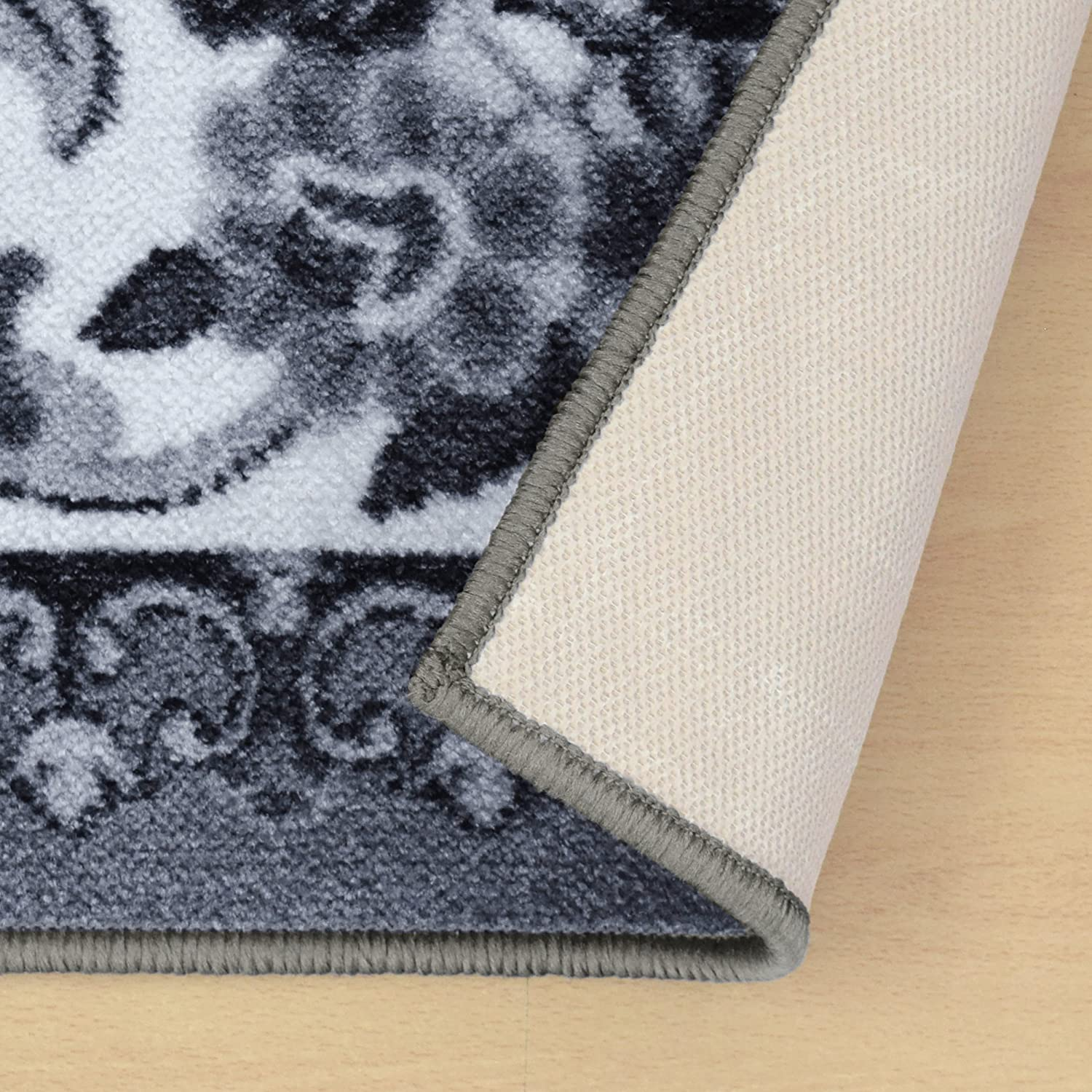 Runner 2.6x8RUG-SERAPHINA Superiors Designer Non-slip Seraphina Area Rug; Digitally Printed Black White Affordable and Fashionable Low Maintenance