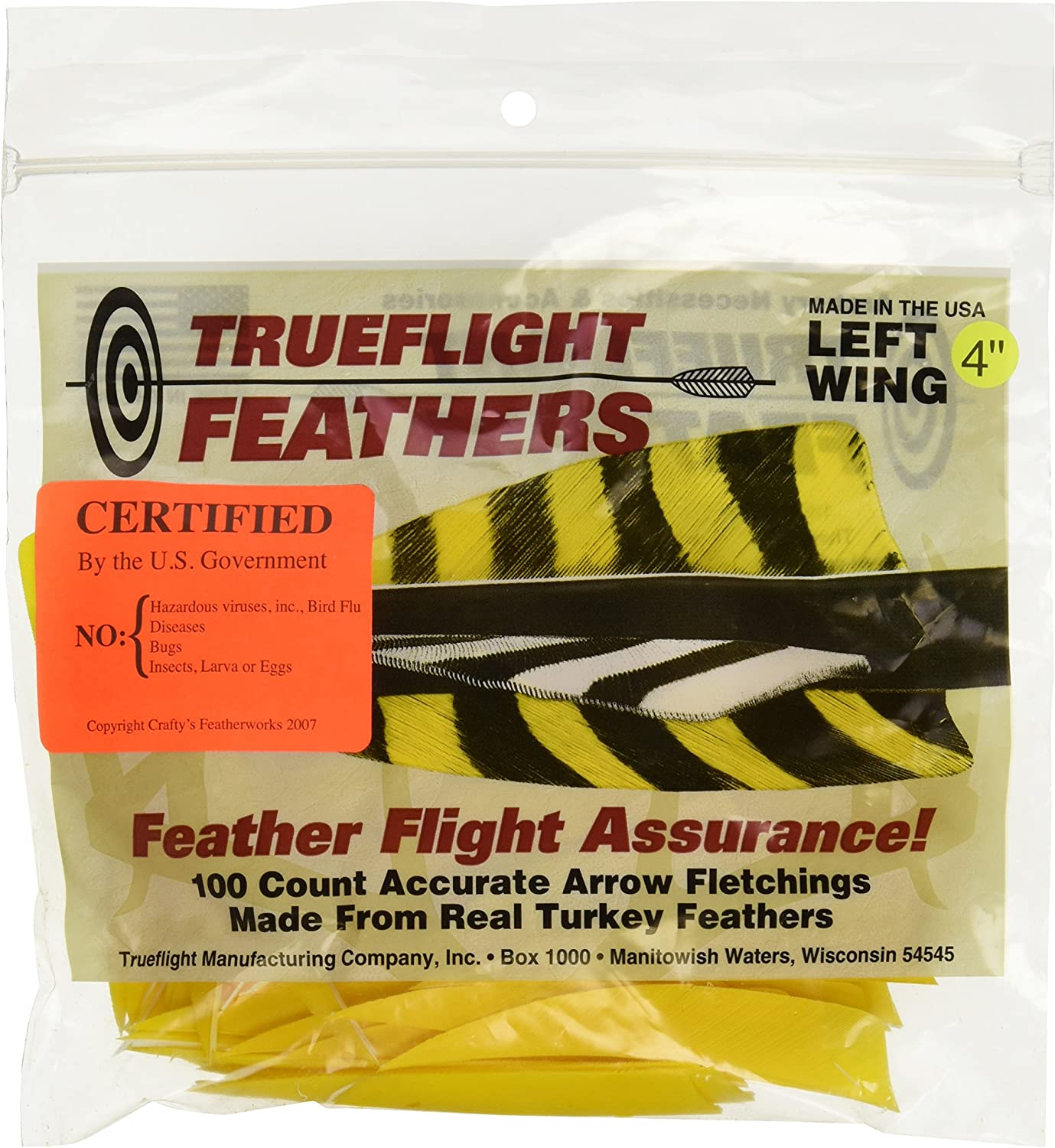 TRUEFLIGHT FEATHERS PARABOLIC SOLID COLOR 4 RW RED 100//PK.