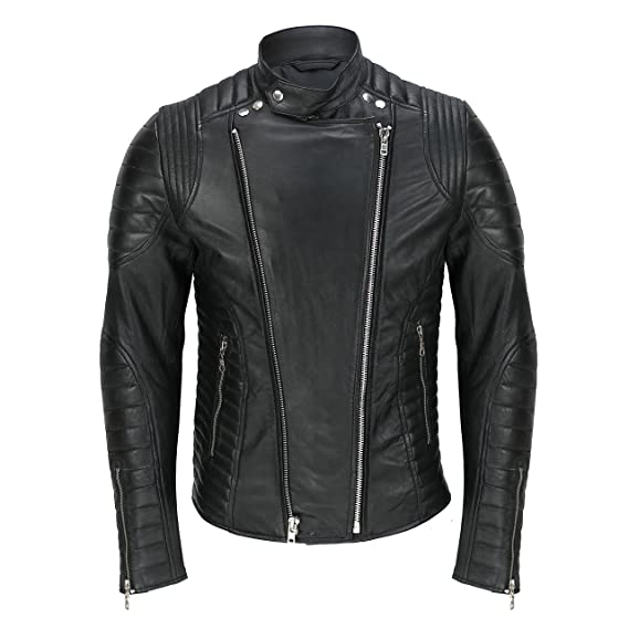 dbf66cc49291 Men s Black Real Soft Leather Quilted Panel Vintage Designer Style Smart  Casual Biker Jacket