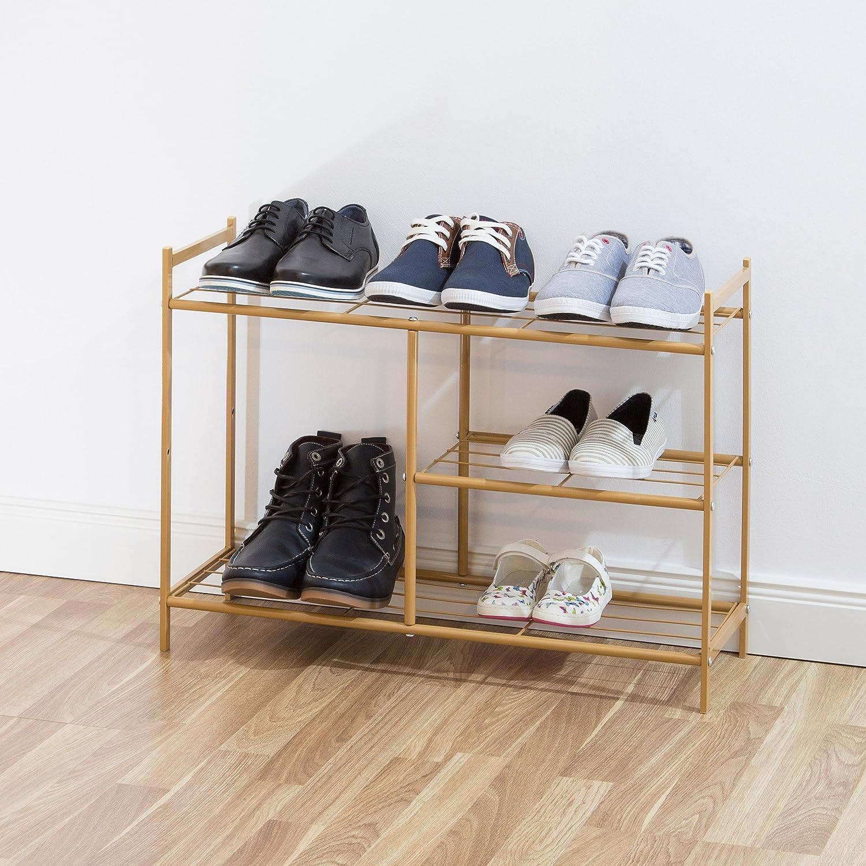 Homfa Bambus Sitzbank mit Schuhregal 3 Ablage 70x28x45cm Schuhschrank Schuhbank Flur Badregal Schuhaufbewahrung Schuhablage bis 120KG belastbar