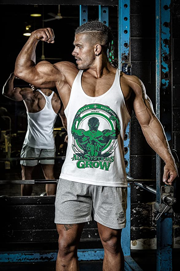 9551b1b94e543 Amazon.com  Iron Tanks ASG Stringer Singlet White - Gym Bodybuilding  Fitness Workout Shirt Top Mens  Clothing