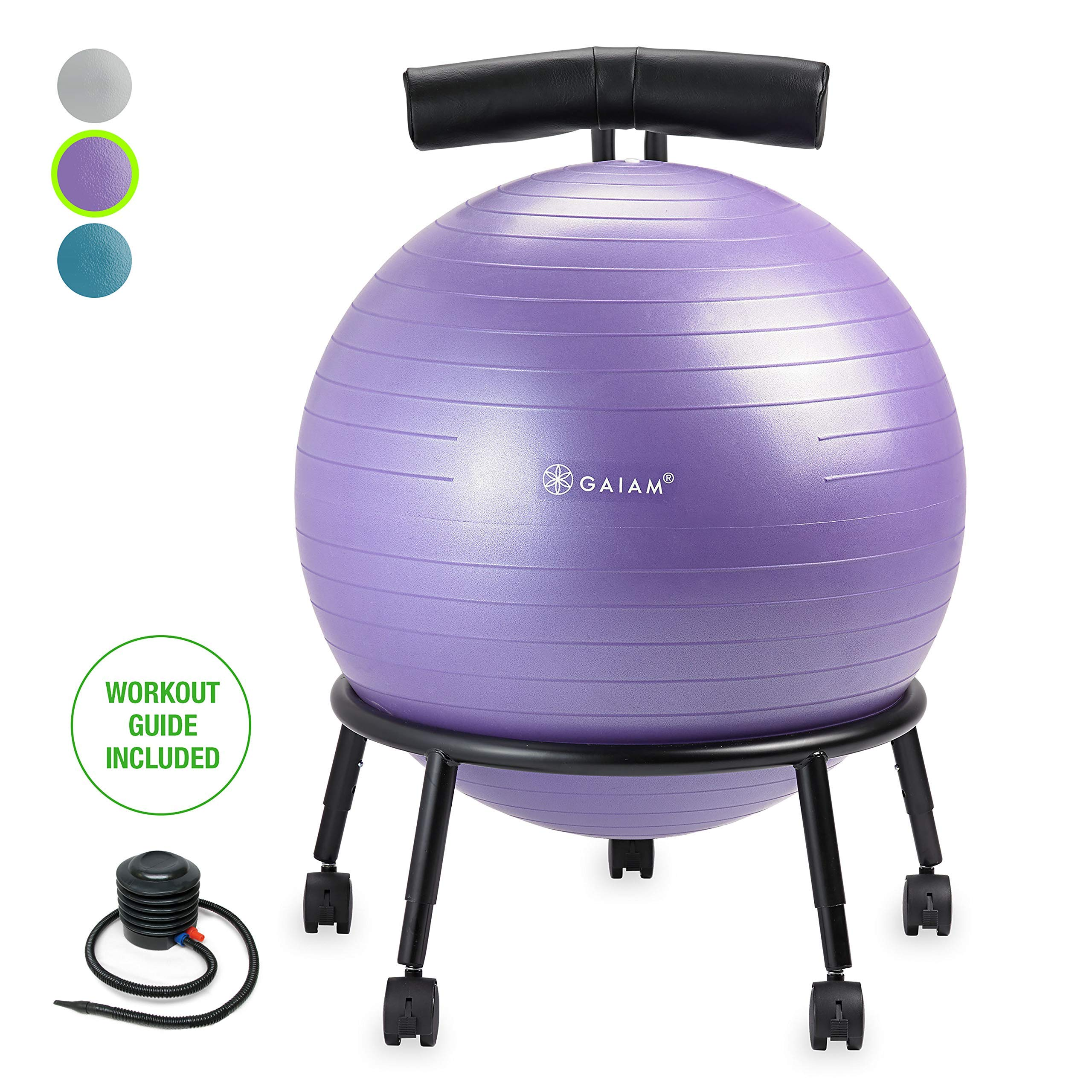 Gaiam Custom-Fit Balance Ball Chair - Exercise Stability Ball Adjustable Desk Chair for Home or Office with 55cm Yoga Ball, Air Pump, Exercise Guide and Satisfaction Guarantee, Purple (Renewed) by Gaiam