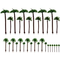 AUEAR, 30 Pcs Model Coconut Palm Tree Scenery Models Train Railway Architecture Artificial Layout Rainforest Railroad…