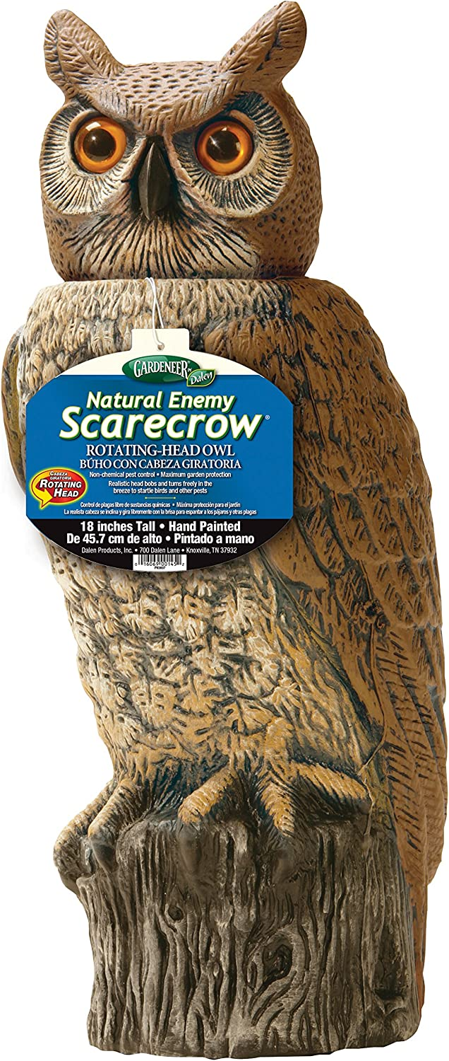Gardeneer By Dalen RHO4 Natural Enemy Scarecrow Rotating Head Owl, Brown, 18 In. H.