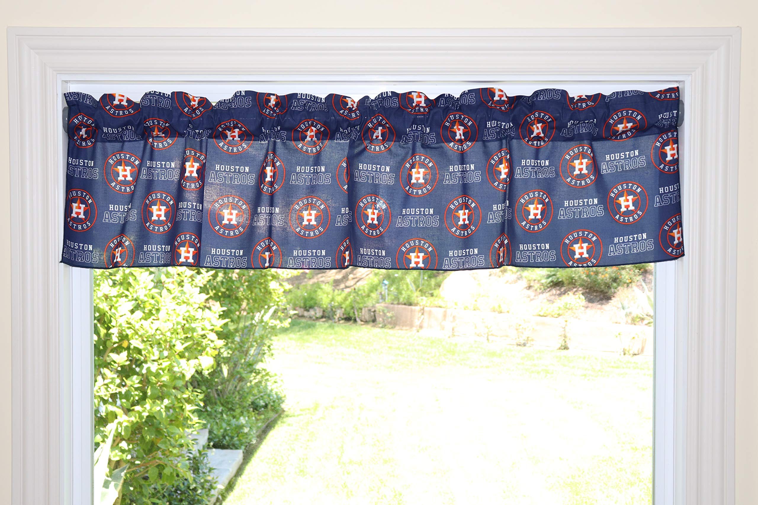 lovemyfabric Baseball Cotton Window Valance 100% Cotton Print MLB Sports Team Houston Astros Events Kitchen Dining Room Bedroom Window Decor (58'' Wide) (24'' Tall) by lovemyfabric