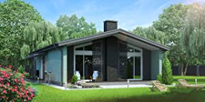 ECOHOUSEMART | Timber Frame Kit #Tf-033 | Prefab DIY Building Cabin Home | GLT Engineered Wood Glulam | 1409 Sq.Ft