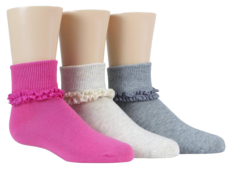 Stride Rite Girls 3-Pack Turncuff Socks