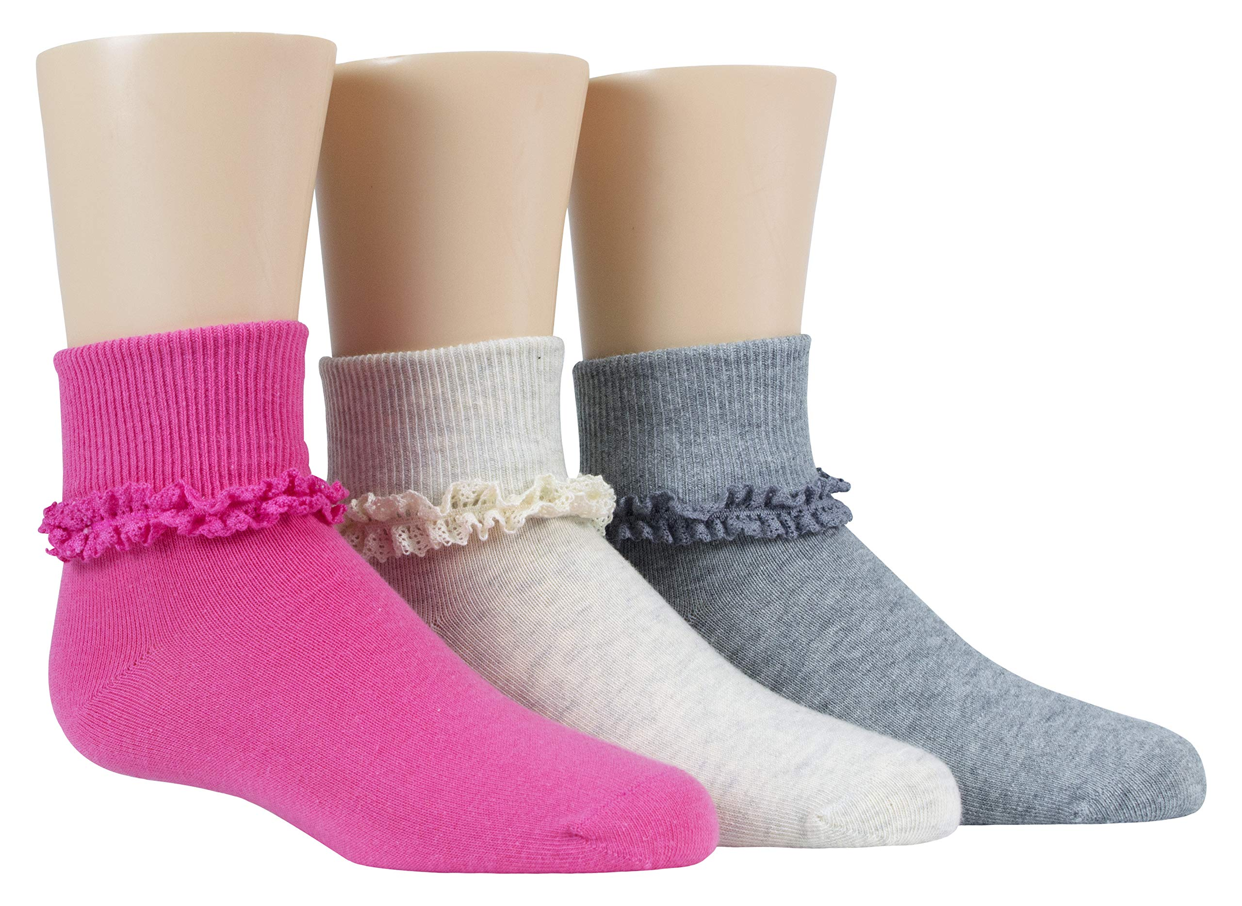 Stride Rite Little Girls' 3 Pack Turncuff, Donna-Grey/Pink/Oatmeal Lace, Sock: 7-8.5/Shoe: 10-13