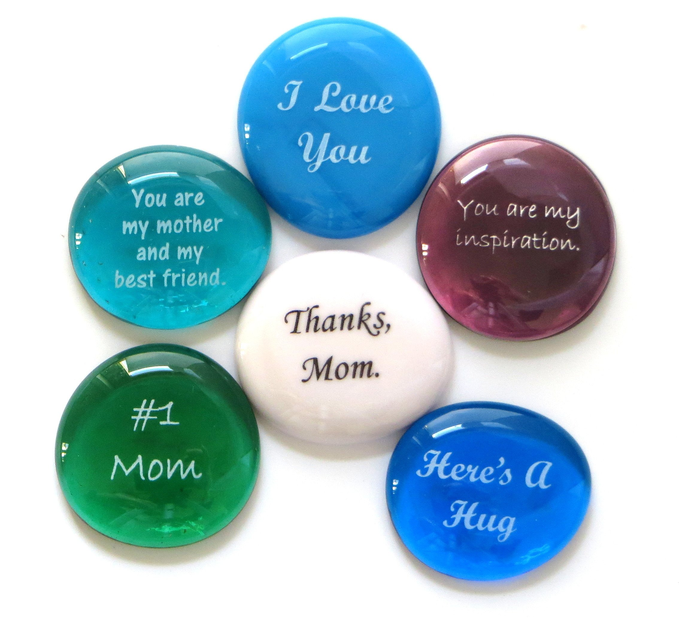 Glass Stones for Mom, Tell Your Mother How Much You Love Her Six Times With This Thoughtful Gift. By Lifeforce Glass.