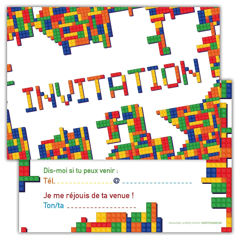 Lot DE 12 Cartes d'invitation pour Anniversaire, Partie, Fête Carton d'invitation en Français Motif Jeux Partycards