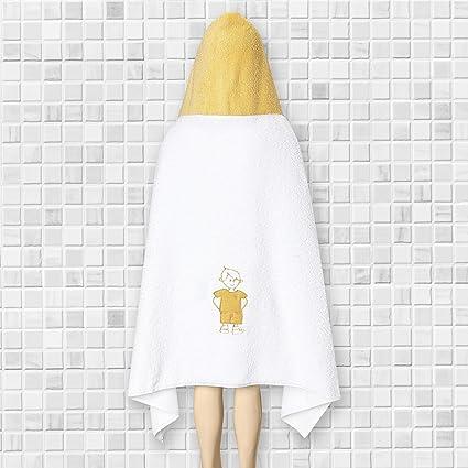 Toalla para Niños Blanca con un Niño Bordado en la espalda y Capucha Amarilla / La