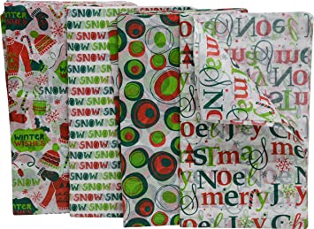 Christmas Tissue Paper 80 Count Fun Holiday Colors And Prints 20 X 20 Sheets