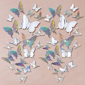 196 Pieces 3D Butterfly Wall Decoration Sticker Hollow Metallic Butterfly Decor Paper Butterflies Decor Mural Decal DIY Butterfly Wall Art Craft for Bedroom Wall Wedding, 3 Styles (Silver, White)