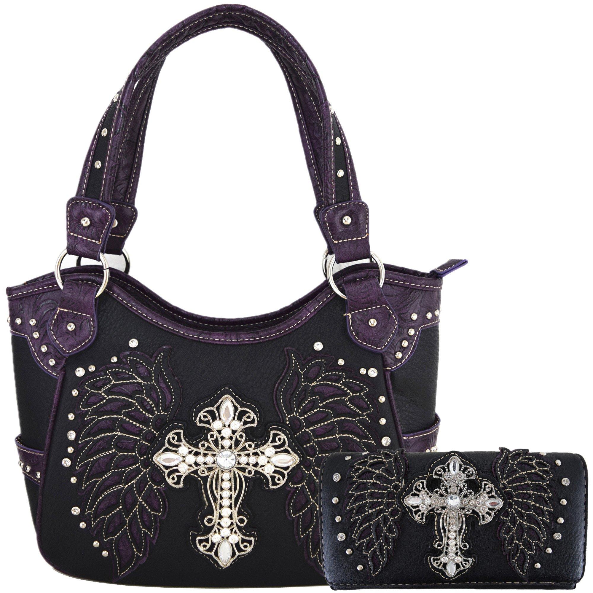 Western Style Cross Laser Cut Wings Purse Concealed Carry Handbags Women Country Shoulder Bag Wallet Set (Black/Purple Set)