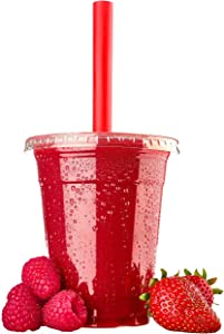 CUPWORKS Plastic Cups with Lids & Jumbo Straws [12oz Flat lids - 100 pack] All sizes are available ranging from 12-24 oz Flat and Dome lids 100/80/50 Variety packs