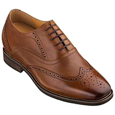 CALTO Men's Invisible Height Increasing Elevator Shoes - Dark Brown Leather Lace-up Brogue Wing-tip Oxfords - 2.6 Inches Taller - G60101 | Oxfords