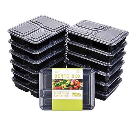 Contenedores de comida Kift, 3 compartimentos con tapa (34oz ...