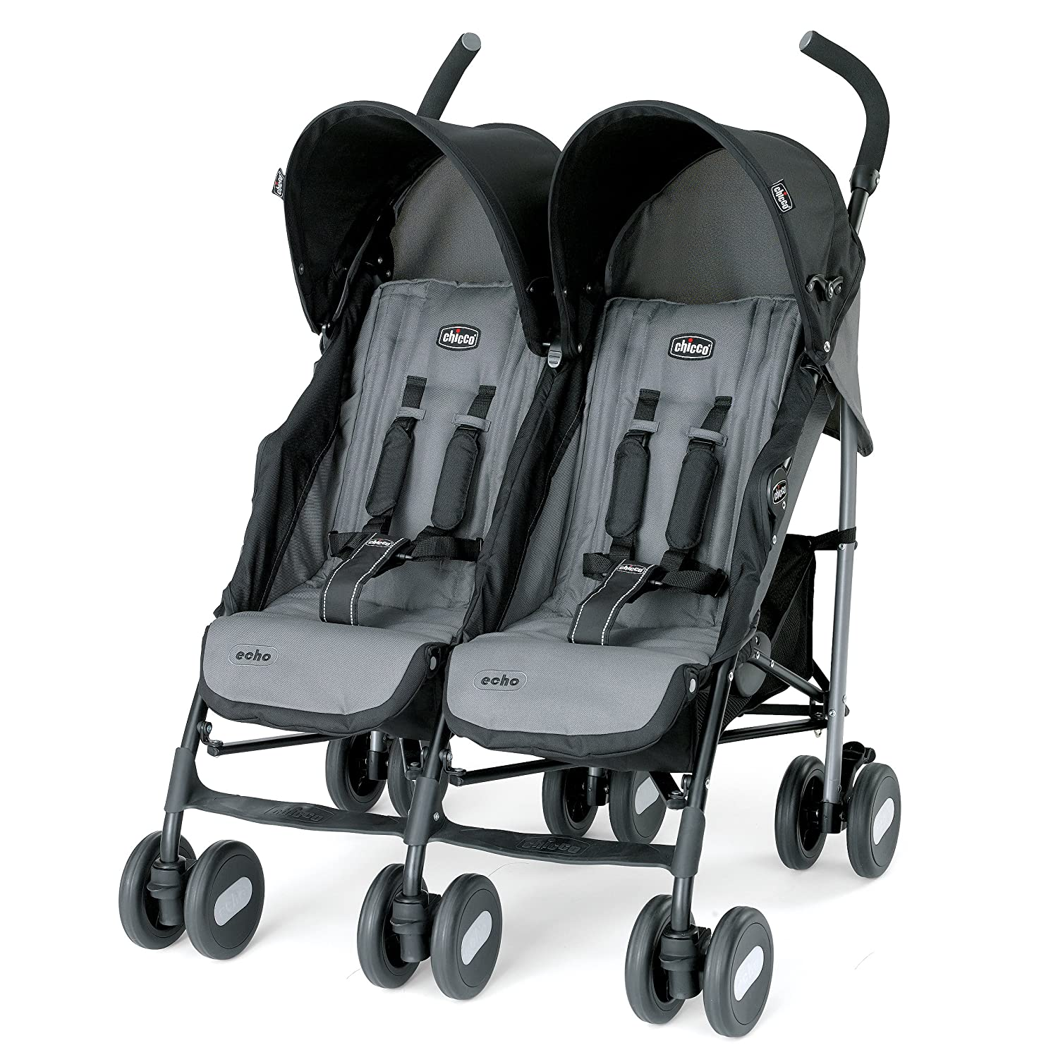 Chicco Echo Twin Stroller, Coal 06079354220070