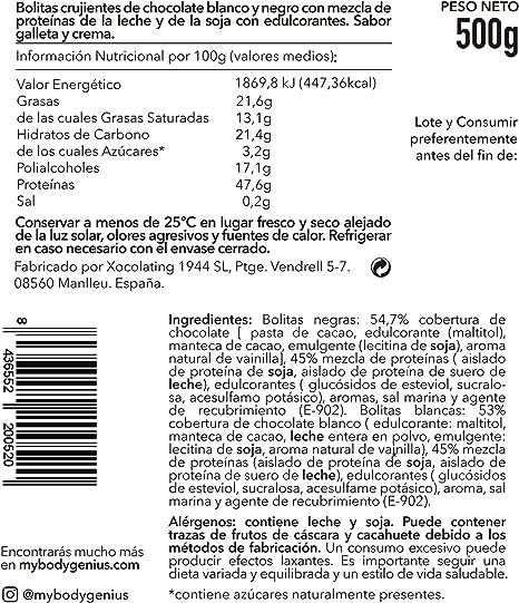 BODY GENIUS Protein Crunch (Cookies&Cream). 500g. Cereales Proteicos. Bolitas de Proteína Recubiertas de Chocolate Sin Azúcar. Bajo en Hidratos. Snack ...