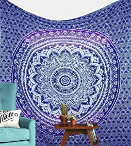 Jaipur Handloom Ombre Tapestry Trippy Mandala Tapestry Wall Hanging Hippie Wall Tapestries Dorm Decor Ombre Bedding Bohemian Bedspread Bed Cover Bedding Beach Throw (54 X 60 inches, Purple)