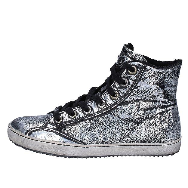 scarpe donna CULT sneakers alti stivaletti nero argento pelle AK795 (36 EU) EJCIgE58G