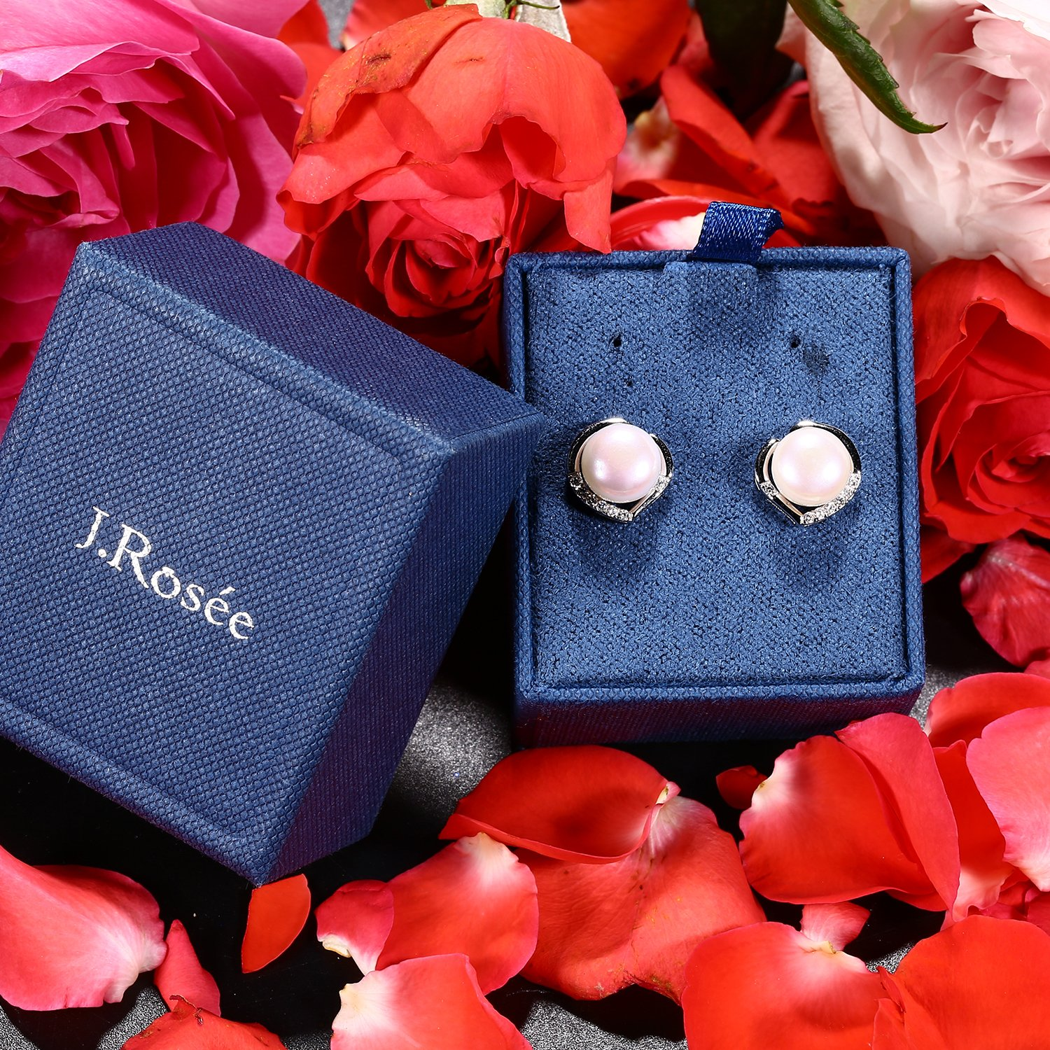 J.Rosée Freshwater Cultured Pearl Earrings, Stud Earrings with 925 Sterling Silver and 5A Cubic Zirconia, Jewelry Gifts for Women Girls by J.Rosée (Image #9)