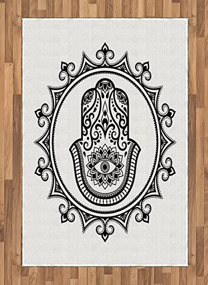 Amazon Evil Eye Area Rug By Ambesonne Hamsa Hand Drawn Symbol