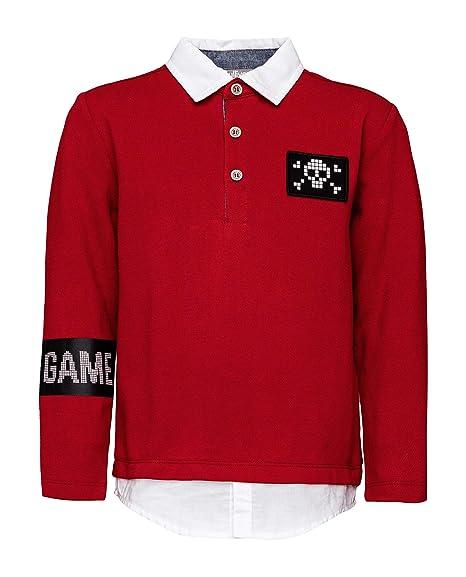 GULLIVER - Polo para niños, Color Rojo Vino, con Parches, con ...