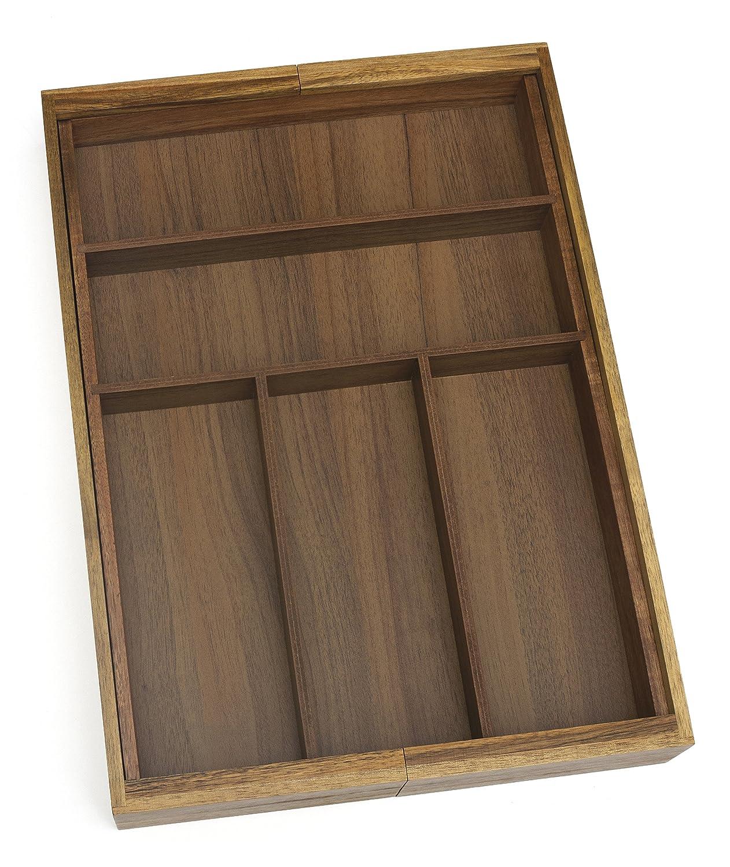 Lipper International 1076 Acacia Wood Flatware Organizer with 5 Compartments, 10-1/4 x 14 x 2