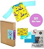 """Näh-Paket Geschenk-Set Baby-Shirt """"Leuchtturm"""" zum Selber-Nähen (mit Schnittmuster, Anleitung, Stoff und Webband)"""