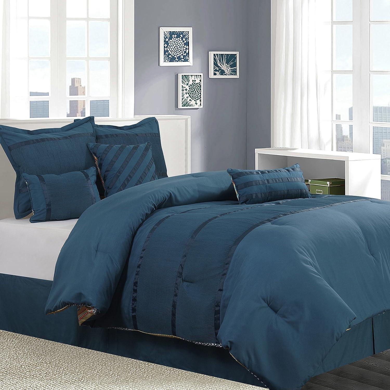 Nanshing AMIAS7-Q Amias Collection Reversible Bedroom Comforter Complete 7 Piece Set Queen Teal