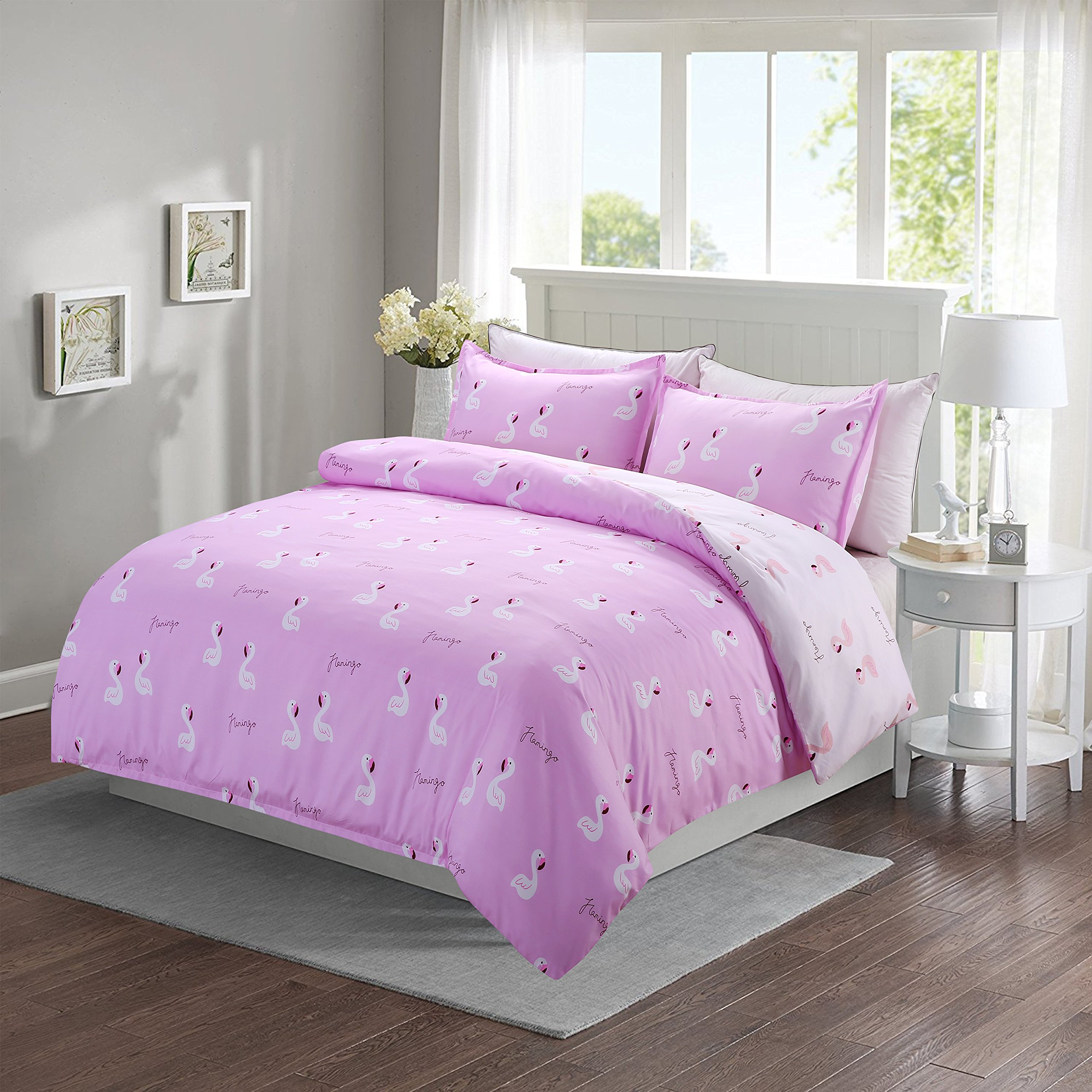 Moliy Duvet Cover Set Breathable Reversible Pink Animals Swan Ultra Soft Microfiber Bedding, Full/Queen (90''x 90''),3 Piece (1 Duvet Cover + 2 Pillow Shams)