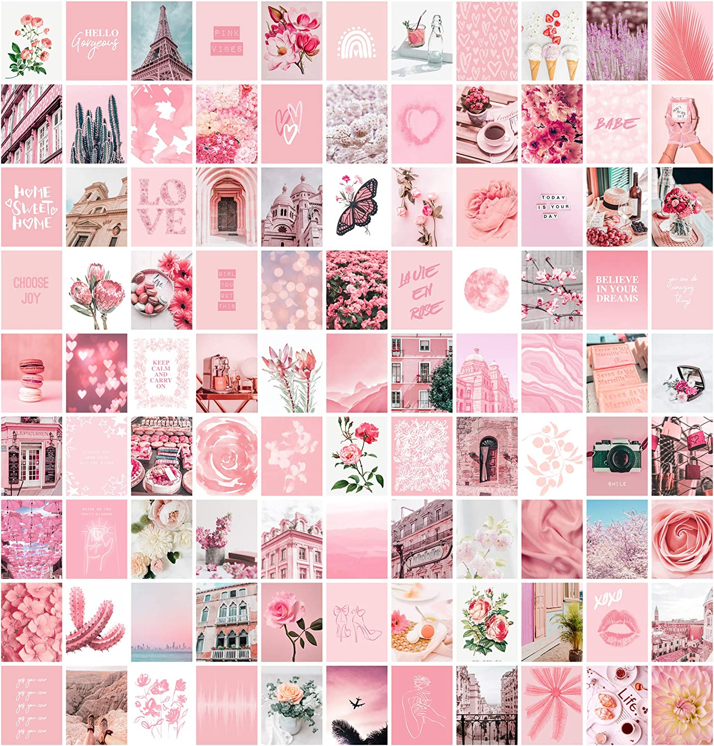 Pink Aesthetic Wall Collage Kit, 100 Set 4x6 inch, Room Decor for Teen Girls, Pretty Blush Pink Wall Art Print, Dorm Photo Collection, Small Posters for Room Aesthetic