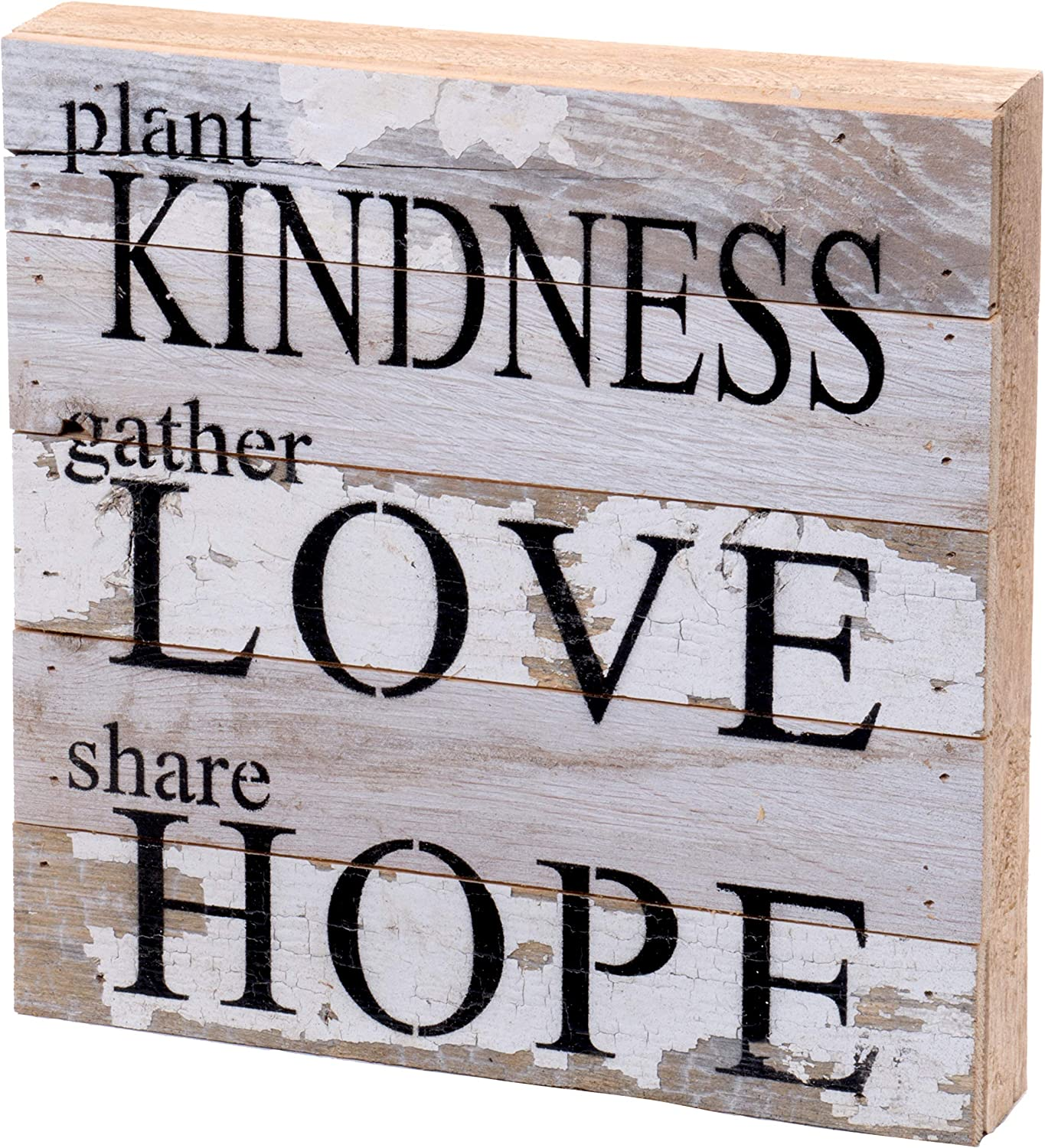 Second Nature By Hand 10x10 Inch Reclaimed Wood Art, Handcrafted Decorative Wall Plaque — Kindness Love Hope