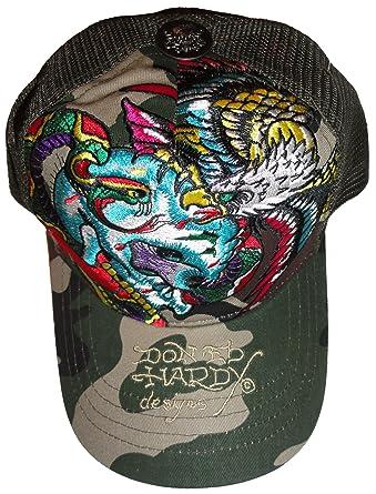 Amazon.com  Men s Ed Hardy Hat Baseball Cap Skull and Snake Trucker ... 50cf1da9a15