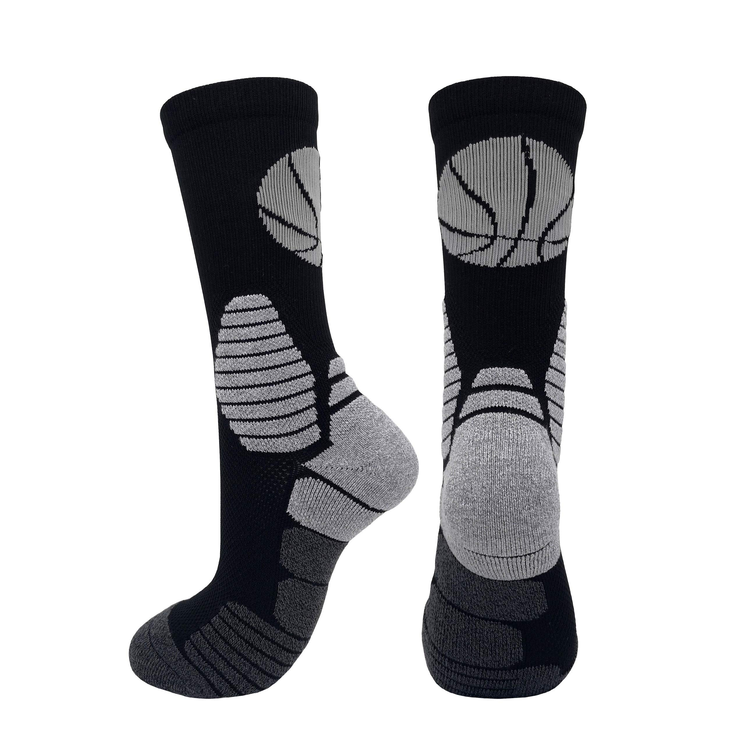 2 Pairs PK Elite Basketball Socks Dri-Fit Crew Sports Athletic Socks for Boy Girl Men Women (Black/Grey X 2PK, XL) by HIGHCAMP