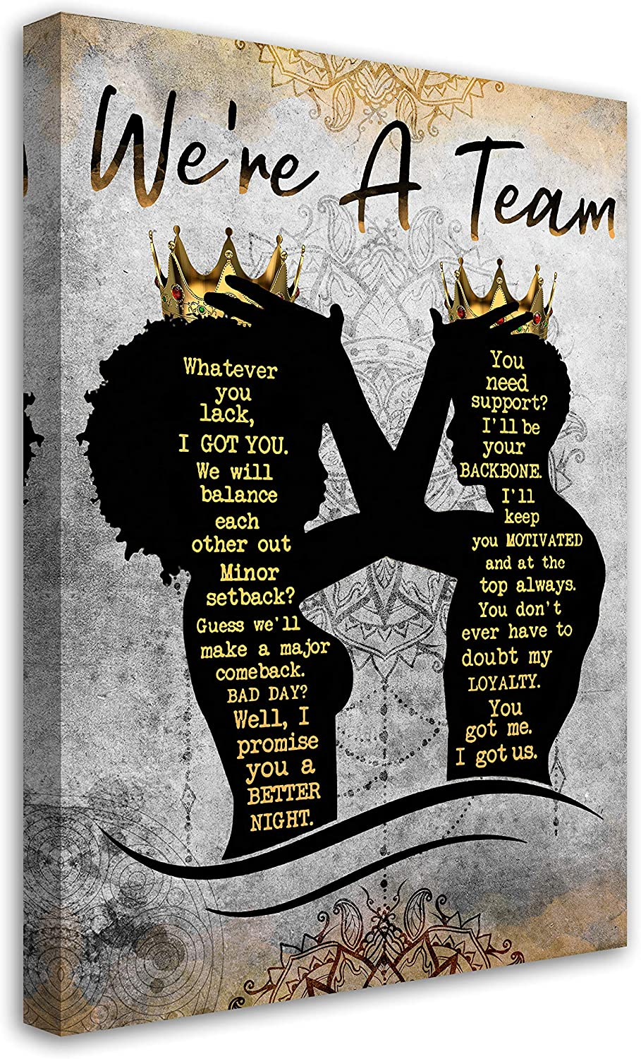 African American Wall Art Black King And Queen Canvas Print Painting Picture Artwork Black Girl Inspirational Quotes Wall Decor For Living Room Bedroom Office Home Decor Framed Ready To Hang 16x24Inch