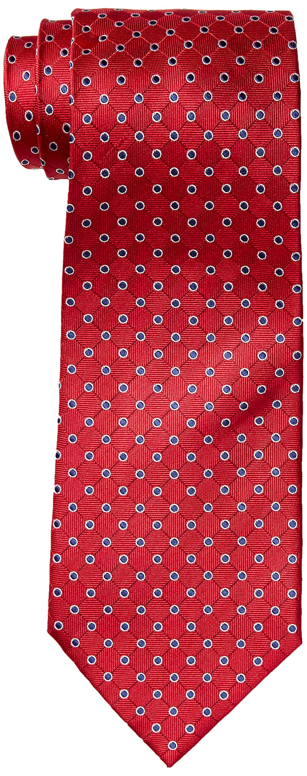 100% Silk Extra Long Red Necktie with Polka Dots (63 Inches Long, 3.75 Inches Wide)