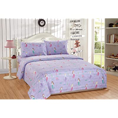 Mk Home 3pc Twin Size Sheet Set for Girls Mermaids Fishes Aqua Lavender Pink New: Home & Kitchen