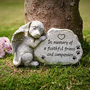 Dog Memorial Stone Statue, Sleeping Dog Angel Figurine Pet Memorial Stones Forever in Our Hearts, Dog Grave Markers Outdoor for Deceased Pet, Antique Stone Finish