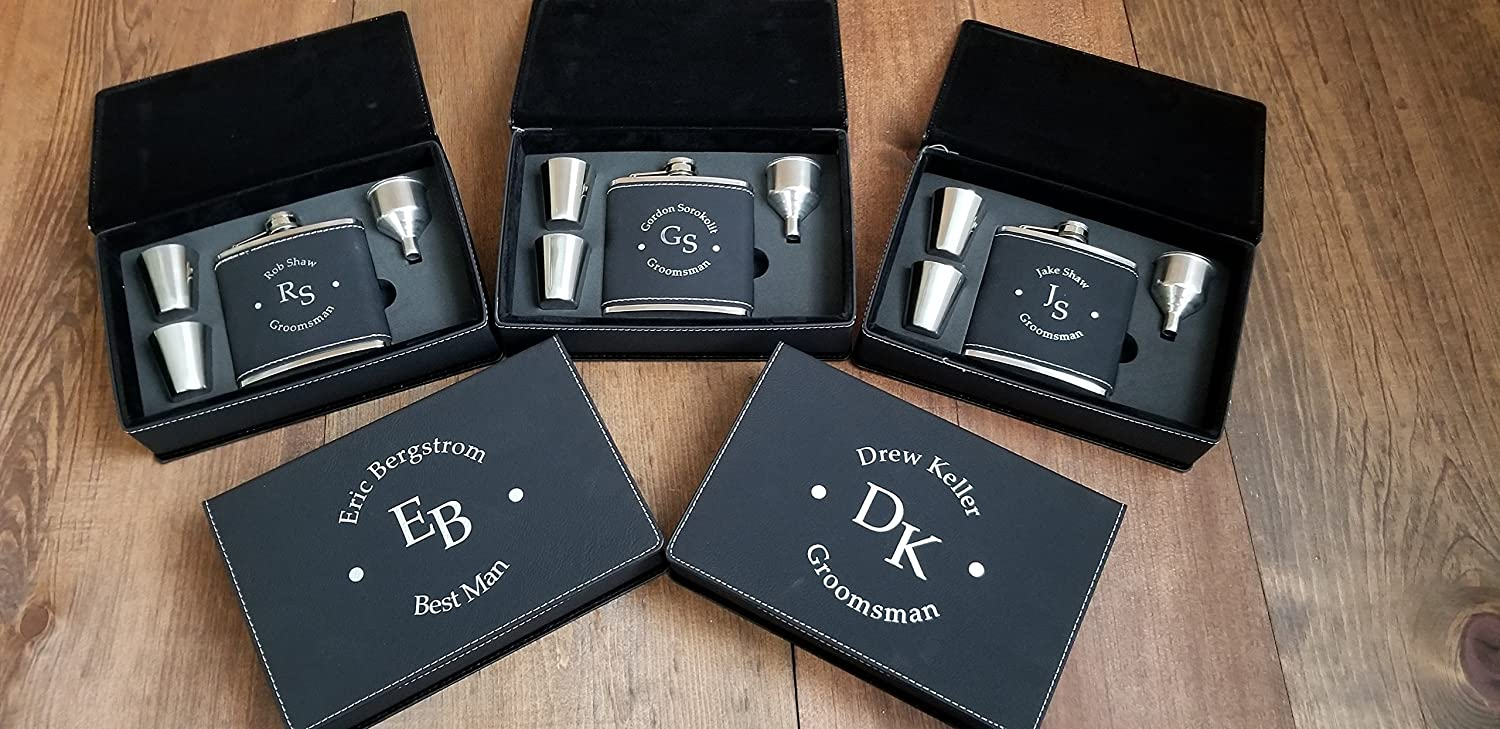 Black Leather Custom Engraved Groomsmen Flask Gift Set