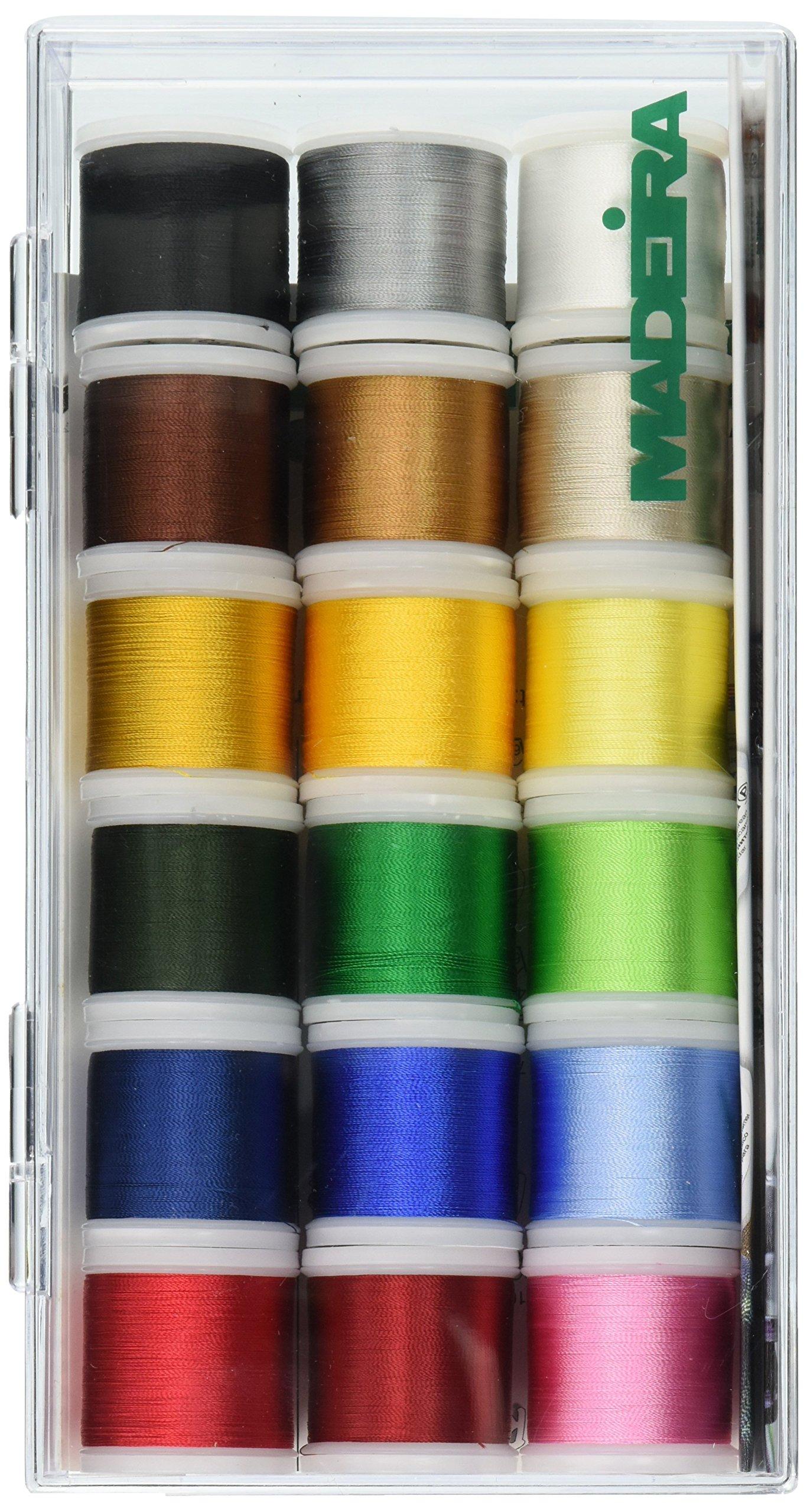 Madeira Rayon No.40 Clear Box x 200m, 18 Spools Multi, per