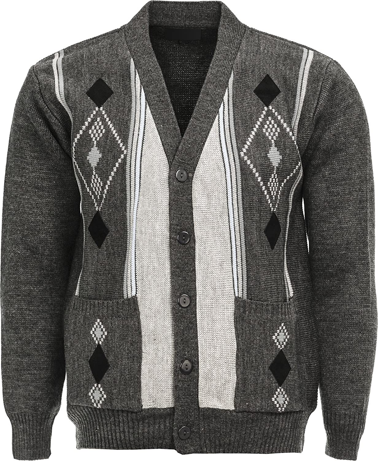 Mens Knitted Cardigan Classic Style V Neck Button WITH POCKETS