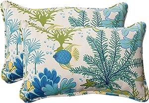 """Pillow Perfect 496375 Outdoor/Indoor Splish Splash Marina Lumbar Pillows, 11.5"""" x 18.5"""", Multicolored, 2 Pack"""