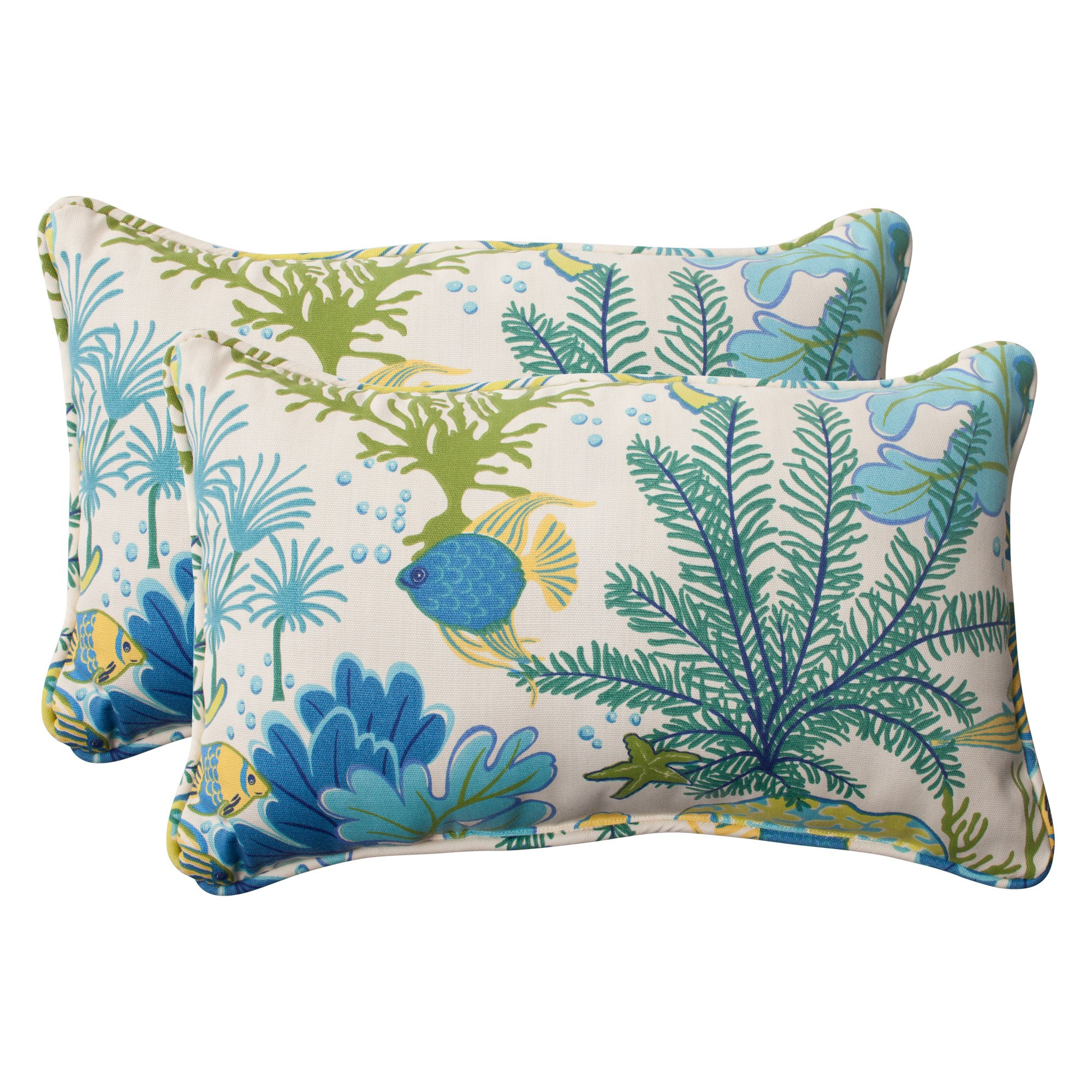 Pillow Perfect Indoor/Outdoor Splish Splash Corded Rectangular Throw Pillow, Blue, Set of 2