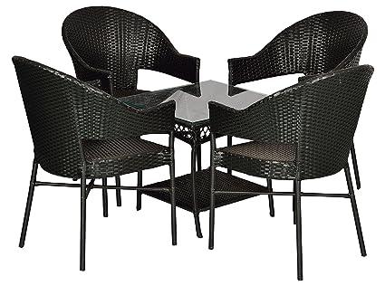 FurniFuture™ Mr. Slim Outdoor Patio Furniture Set 4+1 - (Black)