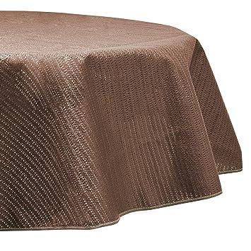 Beautissu Nappe de Jardin en PVC Ronde Lena Marron Ø160 cm Lavable et  Resistant aux intemperies