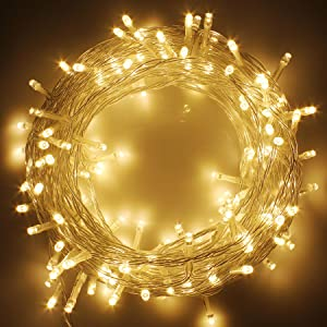 LED Christmas Lights on Clear Cable with 8 Light Effects, Low Voltage LED String Fairy Lights Ideal for Christmas Tree Garden Wedding Party Festival Decoration (300 LEDs,Warm White)