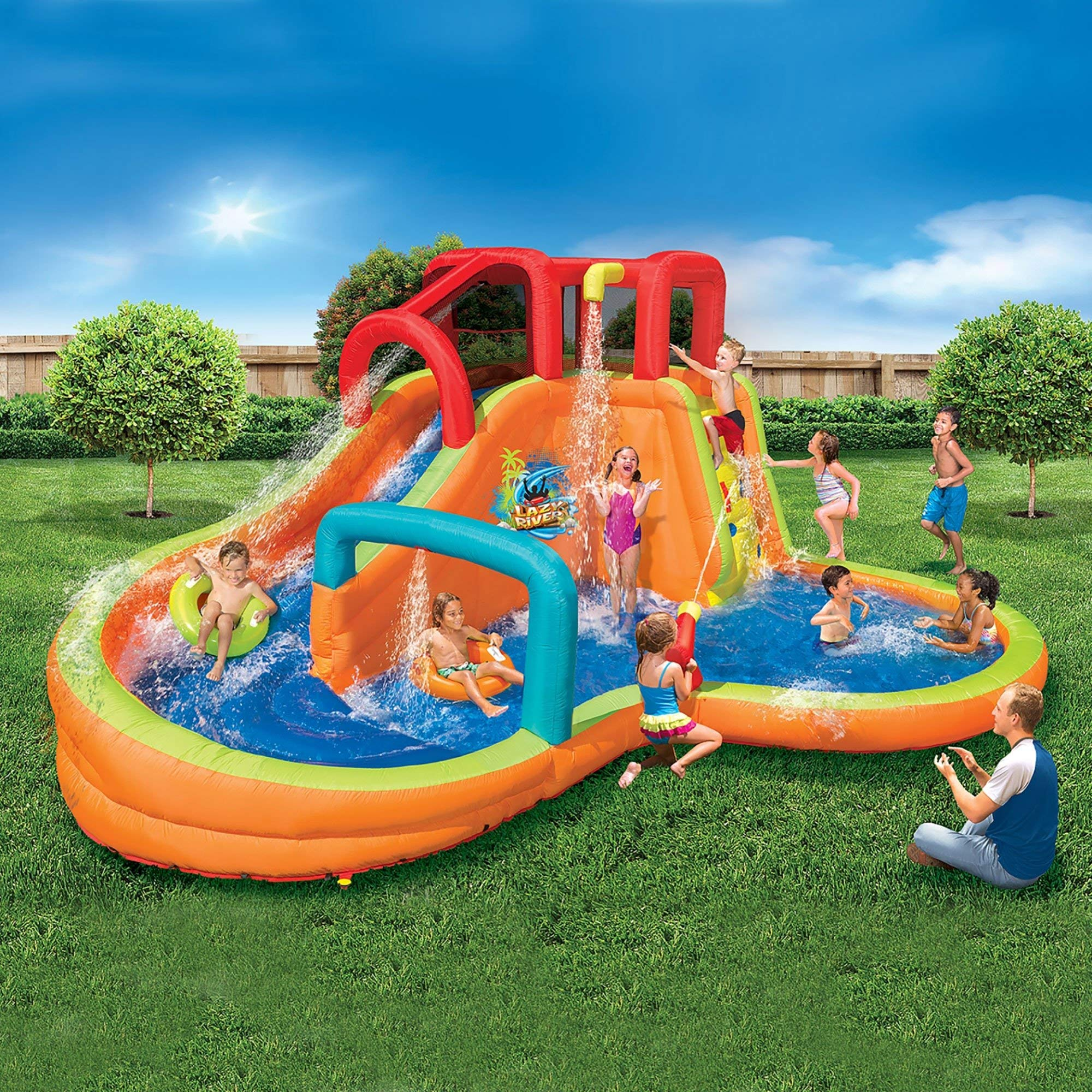 BANZAI Kids Inflatable Outdoor Lazy River Adventure Water Park Slide and Pool by BANZAI (Image #3)